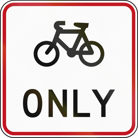new zealand word: New Zealand road sign RG-26A - Cyclist lane only.