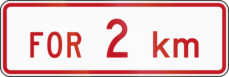 prescribed: New Zealand supplementary road sign RP-1.2 - Sign effective for distance prescribed.