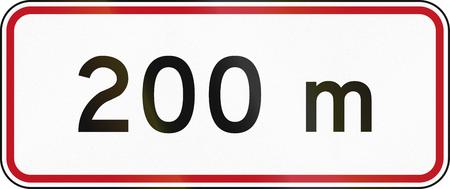 new zealand word: New Zealand road sign RH-5 - 200 metres ahead. Stock Photo
