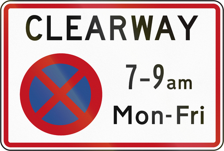 stopping: New Zealand road sign RP-3 - Clearway (No Stopping) during time prescribed (single peak time).