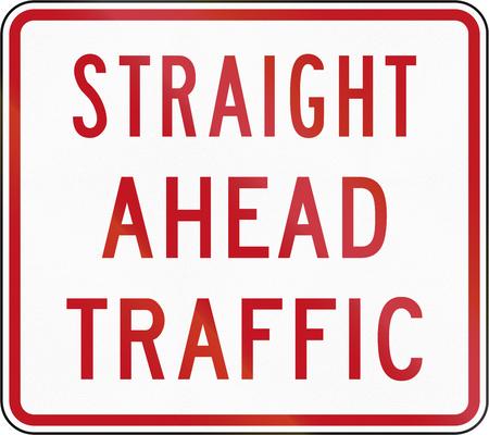 road ahead: New Zealand road sign RG-6.2 - Straight Ahead Traffic.
