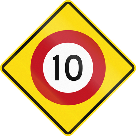 speed limit: New Zealand road warning sign - Speed limit ahead. Stock Photo