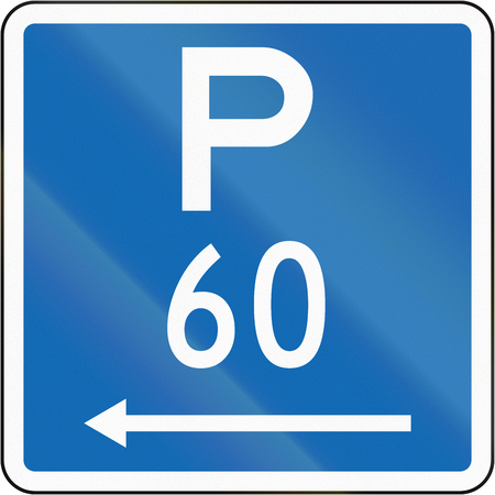permitted: New Zealand road sign - Parking permitted during standard hours for a maximum time of 60 minutes, on the left of this sign.