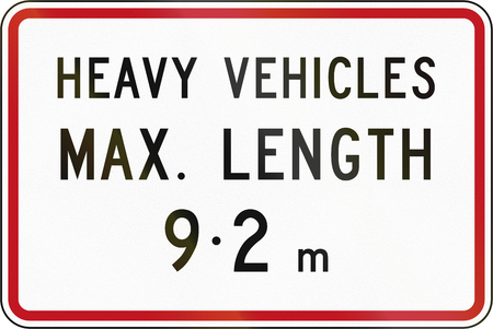 length: New Zealand road sign - Length limit for heady vehicles.