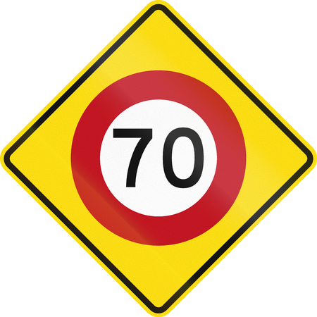 danger ahead: New Zealand road warning sign - Speed limit ahead. Stock Photo