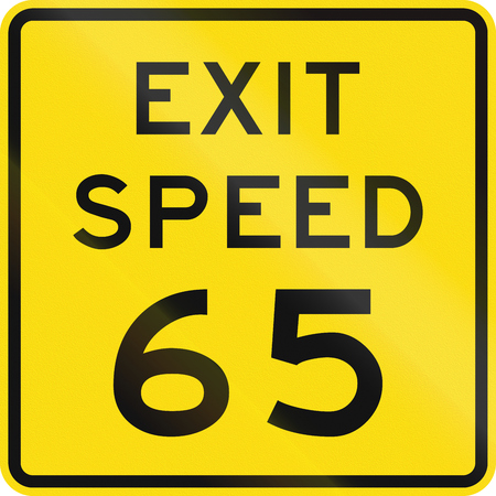zealand: New Zealand road sign - Advised exit speed.