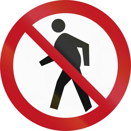 pedestrians: New Zealand road sign RG-23 - No pedestrians.