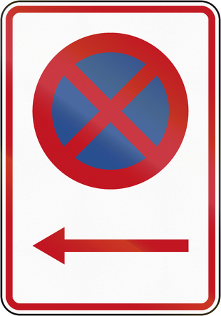 new direction: New Zealand road sign RP-1.1 - No Stopping in direction pescribed. Stock Photo