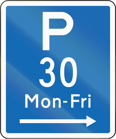 permitted: New Zealand road sign - Parking permitted during non-standard hours for a maximum time of 30 minutes, on the right of this sign.