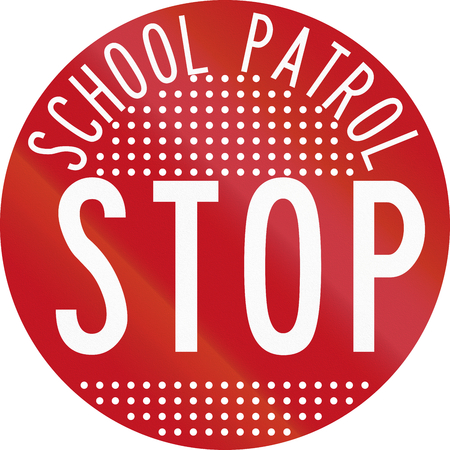 patrol: New Zealand road sign RG-28 - Stop for School Patrol, perforated version.