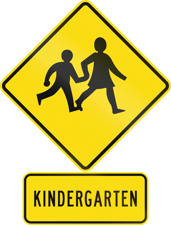 new zealand word: Road sign assembly in New Zealand - Kindergarten children.