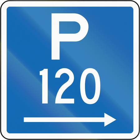 span: New Zealand road sign - Parking permitted during standard hours for a maximum time of 120 minutes, on the right of this sign.