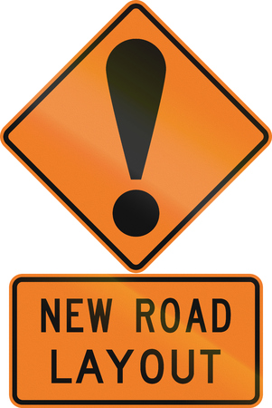 general warning: Road sign assembly in New Zealand - New road layout. Stock Photo