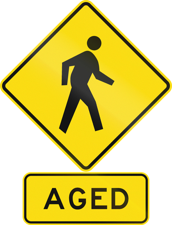 assembly language: Road sign assembly in New Zealand - Aged pedestrians.