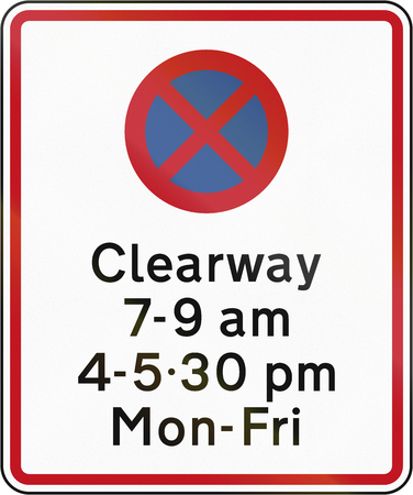 stopping: New Zealand road sign RP-3.5 - Clearway (No Stopping) during time prescribed combined with parking restriction. Stock Photo