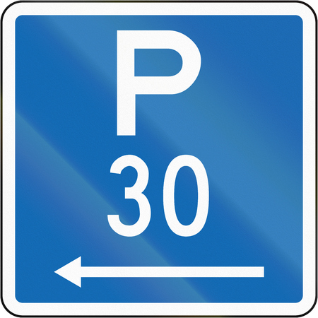 permitted: New Zealand road sign - Parking permitted during standard hours for a maximum time of 30 minutes, on the left of this sign.