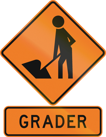 road construction: Road sign assembly in New Zealand - Grader. Stock Photo