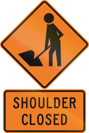 road closed: Road sign assembly in New Zealand - Shoulder closed. Stock Photo