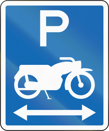 both sides: New Zealand road sign - Parking for motorcycles on both sides of this sign.