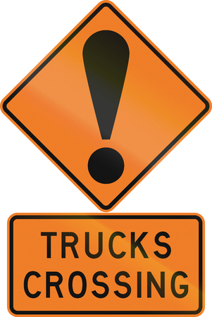Road sign assembly in New Zealand - Trucks crossing. Stock Photo