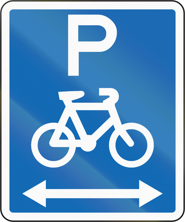 both: New Zealand road sign - Parking for bicycles on both sides of this sign.