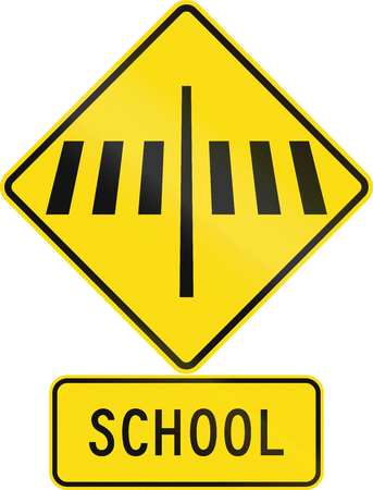assembly language: Road sign assembly in New Zealand - Zebra crossing at school.