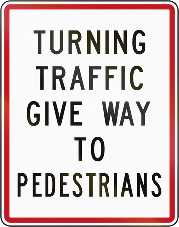 give the way: New Zealand road sign RG-27 - Turning traffic give way to pedestrians.