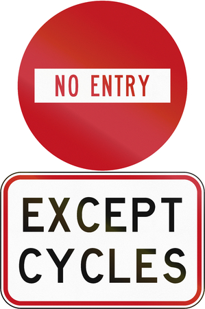 no entry: Road sign assembly in New Zealand - No entry except .