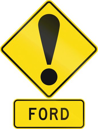 general warning: Road sign assembly in New Zealand - Ford.