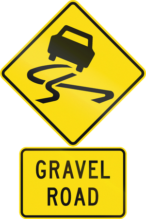 gravel: Road sign assembly in New Zealand - Gravel road. Stock Photo