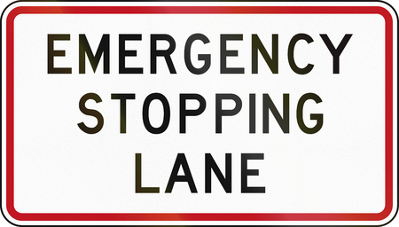 stopping: New Zealand Road Sign - Emergency Stopping Lane. Stock Photo