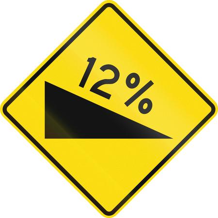 downward: New Zealand road sign - warning of a steep downward grade. Stock Photo
