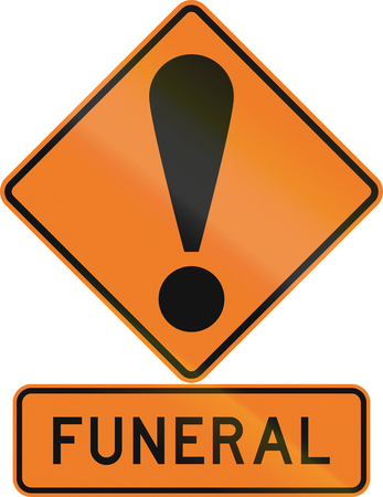 general warning: Road sign assembly in New Zealand - Funeral. Stock Photo