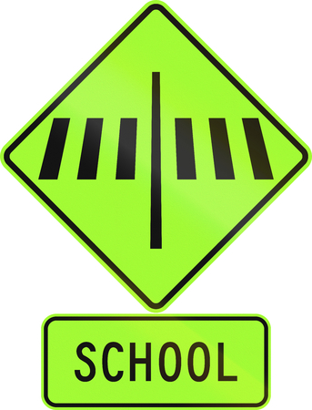 new zealand word: Road sign assembly in New Zealand - Zebra crossing at school, fluorescent version. Stock Photo