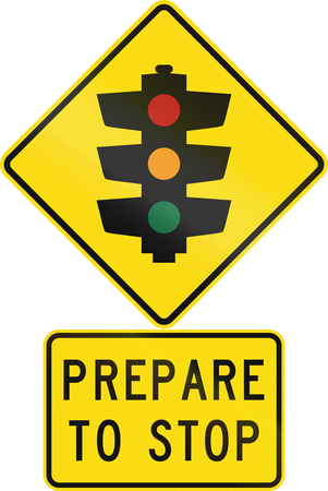 prepare: Road sign assembly in New Zealand - Prepare to stop.