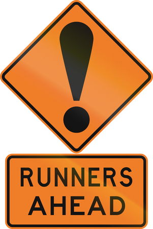 general warning: Road sign assembly in New Zealand - Runners ahead.