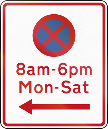 new direction: New Zealand road sign RP-2 - No stopping at th etimes and in the direction prescribed. Stock Photo