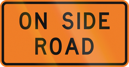 auxiliary: New Zealand road sign - Workers on side road. Stock Photo