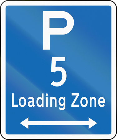 both: New Zealand road sign - Loading Zone parking for a 5 minute maximum, on both sides of this sign.