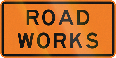 road works: New Zealand road sign - Road works. Stock Photo