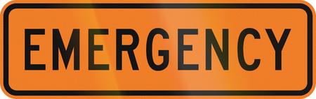 new zealand word: New Zealand road sign - Emergency ahead. Stock Photo
