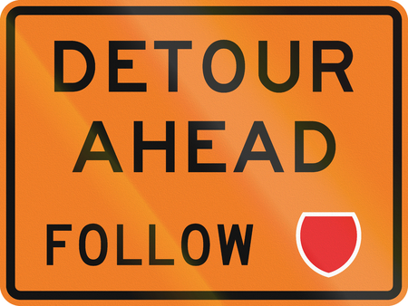 detour: New Zealand road sign - Detour ahead, follow state highway shield.