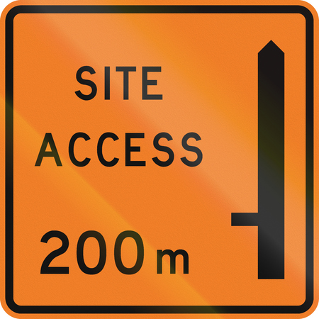 road works ahead: New Zealand road sign - Works site access 200 metres ahead on left.