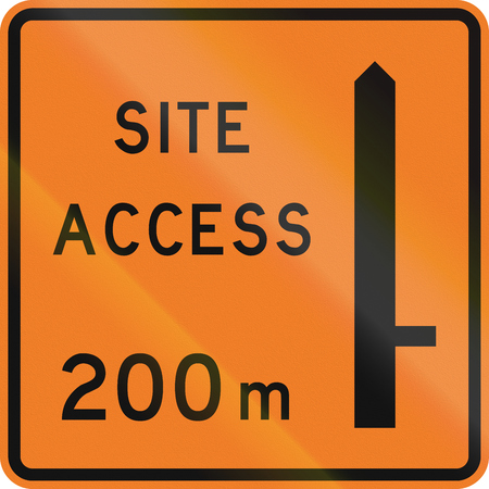 road works ahead: New Zealand road sign - Works site access 200 metres ahead on right.