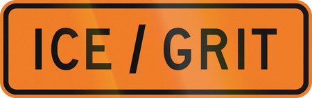 grit: New Zealand road sign - Road slippery due to ice or grit.