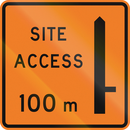 road works ahead: New Zealand road sign - Works site access 100 metres ahead on right.