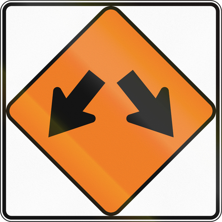 diverge: New Zealand road sign - Road diverges.