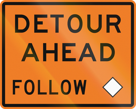detour: New Zealand road sign - Detour ahead, follow diamond symbol. Stock Photo