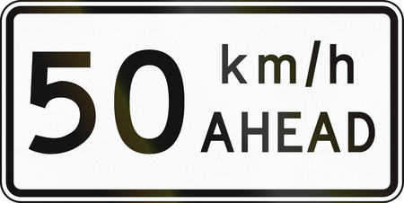 road works ahead: New Zealand road sign - Road works speed limit ahead, 50 kmh. Stock Photo