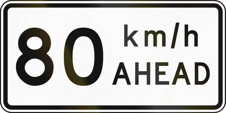 kmh: New Zealand road sign - Road works speed limit ahead, 80 kmh. Stock Photo